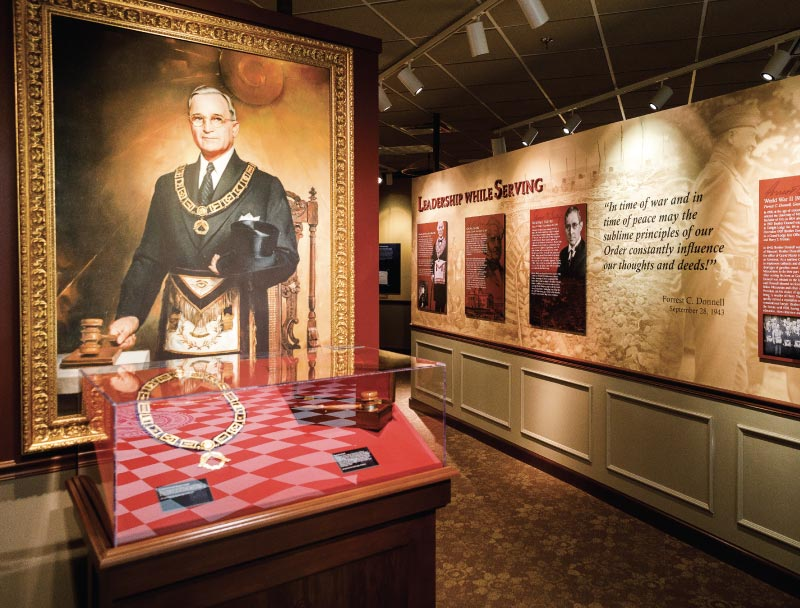 View inside of the Missouri Masonic Museum, large painting of Harry Truman in his traditional Masonic garb is shown.