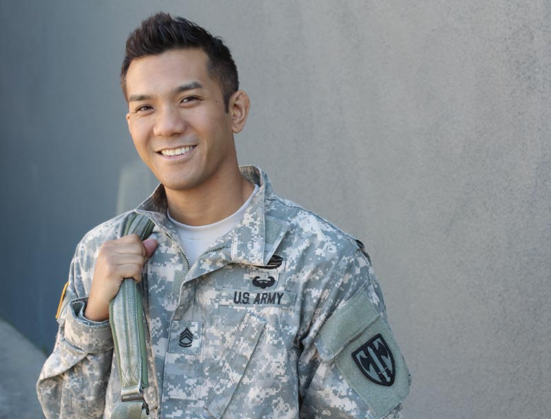 Young Asian man in a US Army uniform with a backpack on his right shoulder.